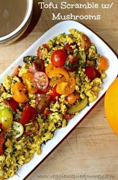 Easy Tofu Scramble with Mushrooms - a hearty, protein packed, plant based breakfast to get you through your day. Plenty of spices means no boring tofu here! Tofu Recipes, Whole Food Recipes, Cooking Recipes, Healthy Recipes, Recipies, High Protein Vegan Breakfast, Vegan Breakfast Recipes, Breakfast Ideas, Breakfast Club
