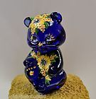 Fenton BEAR Mini - Cobalt Blue YELLOW MUMS Blue SWAROVSKI * OOAK FREEusaSHP