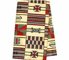 KF218 - Cream adinkra symbol Kente Fabric, 6 yards