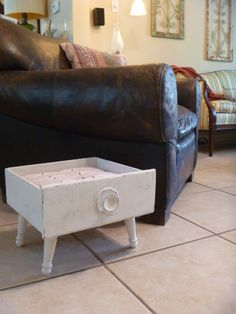 Upcycled Wooden Drawer Cat Bed w/ Reversible by TheBarkingStone, $45.00