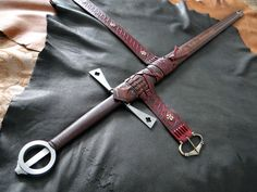 Custom DBK Medieval Sword Scabbard for the Albion Gallowglass - Full Length View