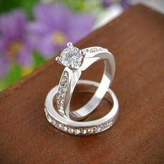 Womens Gemstone CZ Wedding Engagement Ring Set Band Rings Jewelry Size 8