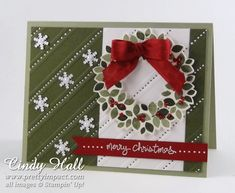 Stampin' Up!  ... handmade Christmas card: Wonderous Wreath ... like the use of Stylish Stripes embossing folder matching up the top panel with the background ... small snowflakes with pearls ... gel pen dots in narrow stripes ... fun embellishments ...