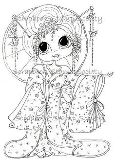 INSTANT DOWMLOAD Digital Digi Stamps Big Eye Big Head Dolls Digi Jasmin Geisha By Sherri Baldy