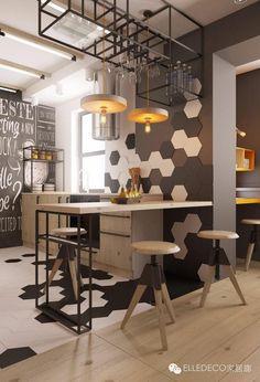 Inspirações e Dicas de Decoração Para Cozinha Industrial - Decoração de Cozinhas - Cozinhas Decoradas - #BlogDecostore - Cozinha Industrial - Industrial Style - Tubulação Aparente - Pendentes - Trilho de Spots - Cozinha Integrada - Piso Laminado - Banquetas - Banquinhos - Banquetas para Cozinha - Revestimento Hexagonal - Hexagon - Piso Hexagonal - Pastilha Hexagonal - Black Board - Parede de Lousa - Banco de Madeira -