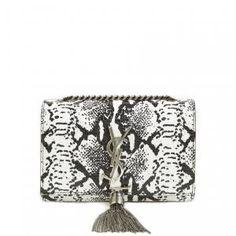 30% off Saint Laurent - Crossbody Bag Mini Monogram Tassel Blanc and Noir - $1525.98 #YSL #saintlaurent #python #crossbodybag #tassel