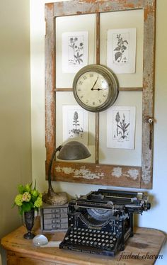 Make a gorgeous botanical frame from an old window - Faded Charm featured on ILoveThatJunk.com
