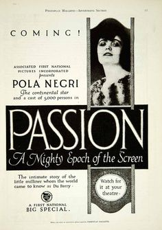 1920 Ad Silent Film Passion Madame DuBarry Pola Negri Lubitsch First YPP1 - Period Paper