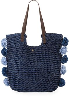 Cappelli Straworld Crochet Tote Bag with Pompoms, Blue