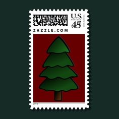 Christmas Tree Maroon Background #Christmas stamps