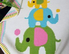 CROCHET Pattern - Baby Blanket  Pattern - Three Elephants - Crochet Graph - Elephant Crochet Pattern - Afghan Crochet Pattern  Crochet Chart