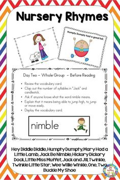 This nursey rhyme unit has ideas for art, science, literacy, math and motor skills for your PreK or Kindergarten students!  Reading lesson plans are easy to follow with suggestions for whole group, small group, center activities and worksheets. All activities are hands-on. Skills include - letter identification, rhyming, counting, initial sounds, sequencing, retelling, center activities, vocabulary, initial sound, words in sentences, writing, book and print awareness, syllables, position…