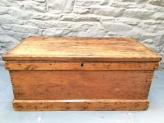 Antique Victorian Pine Blanket Box Trunk Carpenters Chest Coffee Table