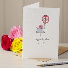 Personalised Handmade Button Balloon Card