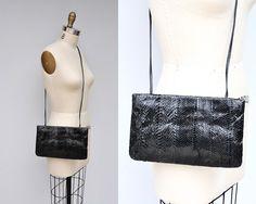 Snakeskin Purse 80s Black Leather Purse Bag Long by ItaLaVintage