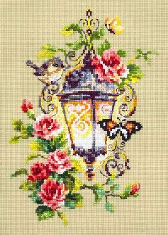 """Cross stitch embroidery kit by Russian manufacture Magic Needle """"Light of inspiration"""" Size of the picture: 17 х 23 cm * The kit contains: - cotton fabric Aida 14 ct - cotton threads Gamma - 31 colors - needle - color guide - stitching guide - pattern Cross Stitch Rose, Modern Cross Stitch, Cross Stitch Flowers, Cross Stitch Designs, Cross Stitch Patterns, Embroidery Kits, Cross Stitch Embroidery, Serviettes Roses, Fabric Birds"""