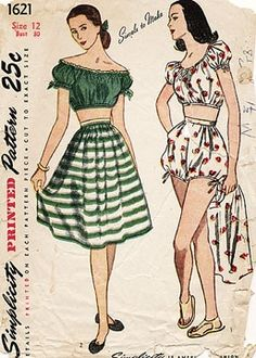 Play set, Simplicity 1621 from 1945,  a peasant bare-midriff blouse, bloomers and skirt - striped blouse womens, white blouse long sleeve, ladies patterned blouses *sponsored https://www.pinterest.com/blouses_blouse/ https://www.pinterest.com/explore/blouses/ https://www.pinterest.com/blouses_blouse/womens-blouses/ https://www.windsorstore.com/category/Tops-Blouses