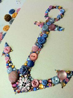 Custom Made Button Art & Swarovski Crystal Delta Gamma Anchor Art