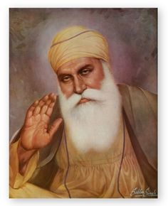 Possibly the most historically famous Sikh artworks ever created, this beautiful masterpiece of Guru Nanak Dev Ji by Sobha Singh is forever in the hearts of every Sikh. As the official reseller of Sobha Singh artworks, we are excited to offer this. Guru Nanak Ji, Nanak Dev Ji, Sobha Singh, Guru Nanak Wallpaper, Guru Nanak Jayanti, Shri Guru Granth Sahib, Shiva Linga, Religious Photos, Punjabi Culture