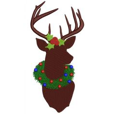 Christmas Machine Embroidery Designs   Christmas Buck with big Antlers Filled Hutning Machine Embroidery ...