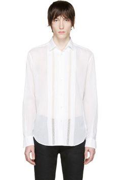 Saint Laurent - White Broderie Anglaise Shirt