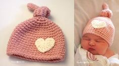 This lovely newborn crocheted knot hat is just adorable. The crochet heart is a delightful embellishment for this super cute baby hat. Crochet Baby Pants, Newborn Crochet, Crochet Beanie, Crochet Hats, Newborn Hats, Baby Hats, Rosa Hut, Baby Knitting Patterns, Crochet Patterns