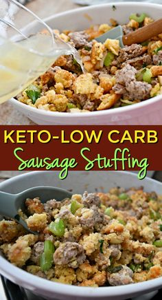 Add this savory, herby keto Thanksgiving sausage stuffing to your Thanksgiving table. We share how to make this easy, yummy side! Keto Thanksgiving Dinner, Keto Dinner, Thanksgiving Recipes, Thanksgiving 2016, Thanksgiving Stuffing, Thanksgiving Side Dishes, Ketogenic Recipes, Low Carb Recipes, Diet Recipes