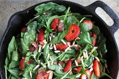 hot spinach salad with strawberries and bacon