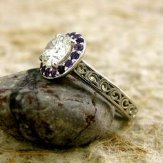 Diamond Engagement Ring with Purple Amethysts in by SlowackJewelry