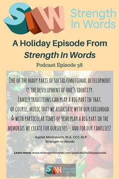 """Join host Ayelet Marinovich for this week's interactive """"family enrichment"""" program, as she leads your family in song for a special holiday episode, dedicated to holiday music and the development of family traditions. For music, play and developmental information on a weekly basis, subscribe and visit www.strengthinwords.com!"""