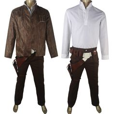 Star Wars VII 7 The Force Awakens Han Solo Jacket Shirt Pants Deluxe Outfit Full Set Halloween Comic-con Cosplay Costume Xmas Gift