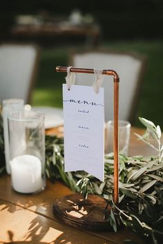 Natalie and Kevin's Santa Monica Wedding (Grey Likes Wedding.- Natalie and Kevin's Santa Monica Wedding (Grey Likes Weddings) Natalie and Kevin's Santa Monica Wedding copper menu holder - Wedding Bells, Our Wedding, Dream Wedding, Trendy Wedding, Wedding Spot, Wedding Ceremony, Elegant Wedding, Summer Wedding, Ceremony Signs