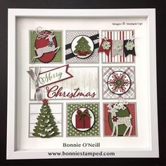 The beautiful shadow box on the right done for Christmas. Is it done with the families memory of Christmas in the future mean time past. Merry Christmas Frame, Christmas Shadow Boxes, Christmas Collage, 3d Christmas, Christmas Paper Crafts, Stampin Up Christmas, Christmas Projects, Holiday Crafts, Christmas Decorations