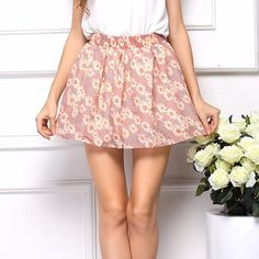 Cute Floral Print Skirt Pleated Mini Skirt, Chiffon Skirt, Mini Skirts, Women's Skirts, Floral Print Skirt, Casual Skirts, Women's Summer Fashion, Colorful Fashion, High Waisted Skirt