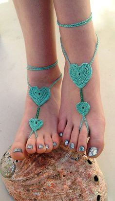 Crocheted Barefoot Sandals Black Heart Barefoot by MaryKCreation