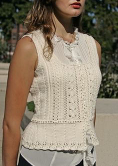 Easy Cabled Lace Vest Knitting Pattern - Nicole - Downloadable Knitting Patterns - Chic Knits Knitting Patterns - (MT Sport is suitable)