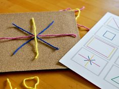 Yarn + Sandpaper + a Cereal Box = A Fabulous Quiet Time Activity - Modern Parents Messy Kids - This looks like a really neat product - Quiet Time Activities, Motor Activities, Preschool Activities, Quiet Time Boxes, Busy Boxes, Toddler Preschool, Toddler Activities, Airplane Activities, Tot School