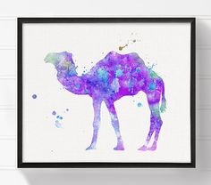 Purple Camel Art Print Watercolor Camel Painting by MiaoMiaoDesign