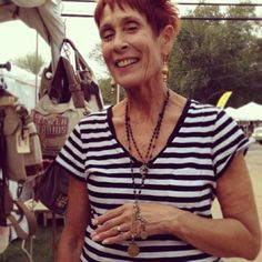 """@selinavaughanstudios's photo: """"Judy from Marblehead, MA with her vintage rosary  and charms at our booth at Brimfield Antique Show. #brimfield #rosary #vintage #antique #found #charm #ooak #jewelry #necklace #selinavaughan #selinavaughanstudios"""""""