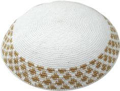 Knit Kippah: White & Gold