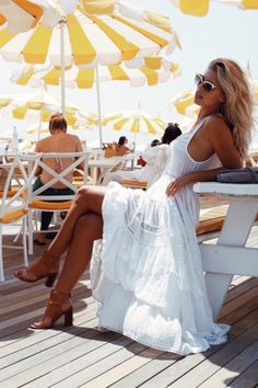 Sexy white summer maxi and tan heeled sandals