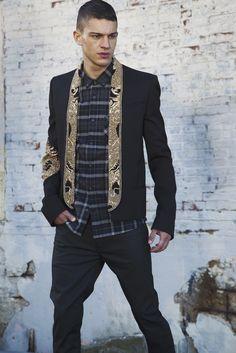 Balmain's wool blazer, Hugo's wool shirt and BLK DNM's cotton and spandex denim jeans. [Photo by Renie Saliba]