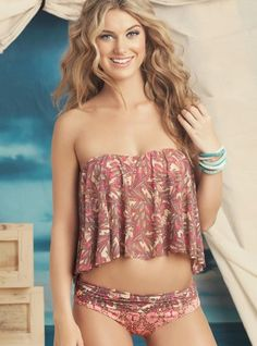 ea3e2521d3 Maaji Womens Swimwear 2014 Sparkling Waves (front) Bandeau Tankini - cute  but I would add straps