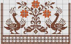 Biscornu Cross Stitch, Cross Stitch Bird, Cross Stitch Borders, Cross Stitch Charts, Cross Stitch Patterns, Towel Embroidery, Embroidery Sampler, Folk Embroidery, Embroidery Patterns