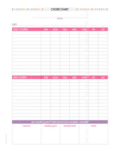 Teen Chore Chart, Chore Charts, Daily List, Arc Notebook, Weekly Goals, Family Organizer, Planner Pages, Room, Kids