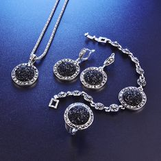 Adrien's Shop - Black broken stone wedding jewelry sets