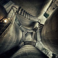 """destroyed-and-abandoned: """" Staircase in an old factory in Italy vinkulelu: """" © Sven Fennema """" """" Concrete Staircase, Spiral Staircase, Staircase Design, Abandoned Buildings, Abandoned Places, Gaudi, Frank Lloyd Wright, Escher Paintings, Abandoned Factory"""
