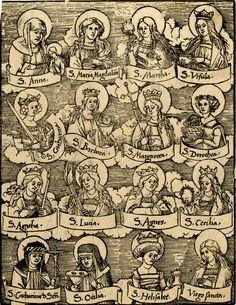 "maertyrer: ""Hans Wechtlin Sixteen female Saints woodcut, 1500-26 """