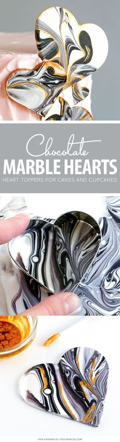The best DIY projects & DIY ideas and tutorials: sewing, paper craft, DIY. DIY Party Food 2017 / 2018 Marble Chocolate Hearts - how to make marbled heart toppers for cakes and cupcakes using chocolate coating and cookie cutters Marble Chocolate, Chocolate Work, Chocolate Hearts, Chocolate Coating, Chocolate Cupcakes, Chocolate Bowls, Chocolate Decorations For Cake, Chocolate Cake Toppers, Chocolate Cake Designs