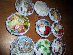 Hobby- mój Decoupage / bombka - medalion z szydełkową koronką //Hobby- my Decoupage / bauble - a medallion with crocheted lace